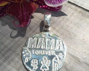 Mom Forever pendant. Sterling silver.