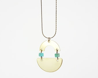 "Jane Necklace - Brass & Turquoise  Pendant on a 28"" Brass Snake Chain"