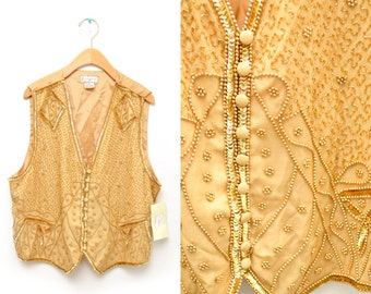 80s Gold Sequin Vest Women's Large Sparkly NWT Dead Stock NOS