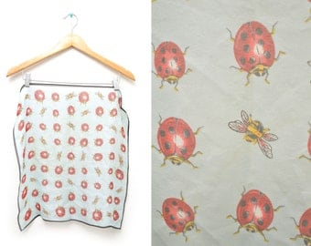 70s Ladybug Bumblebee Patterned Hippie Scarf Square Thin Adorable