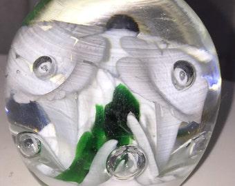 St. Clair Paperweight Swirled Blown Glass Vintage Handmade White Flowers Vintage