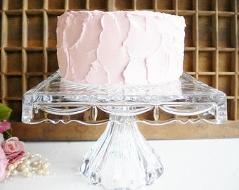 Vintage Glass Cake Stand/Square Wedding Cake Stand/Pedestal Cake Stand/8 Inch/Heavy Shannon Crystal/Modern,Romantic/Cupcake Stand