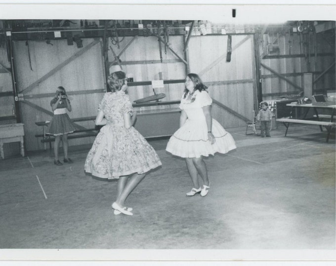 Vintage Snapshot Photo: Girls Dancing, Being Photographed, c1960s (71537)