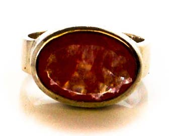 vintage Sterling Red Carnelian Ring   Size 6 1/2       Designer Signed  Janice Girardi