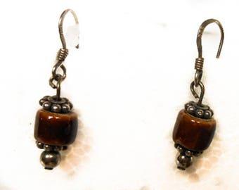 Vintage Sterling Brown Agate Drop Earrings