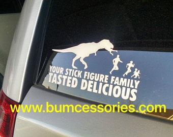 T-Rex Dinosaur Eating Stick Figure Family White Car Window Decal