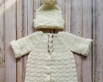 Crochet Baby Sweater, Baby Crochet Sweater Set, Baby Matinee Set, Crochet Baby Girl Clothes, Baby Crochet