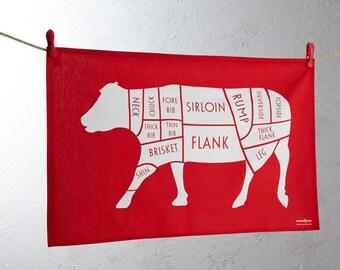 Butcher's Cuts Tea Towel - Tea towel - Cow Tea towel - Kitchen tea towel - Kitchen gift - butcher meat cuts - Red tea towel - Kitchen linen
