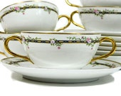 Seven HC France Old Abbey Limoges Monticello Double Handle Bouillon Cups and Saucers