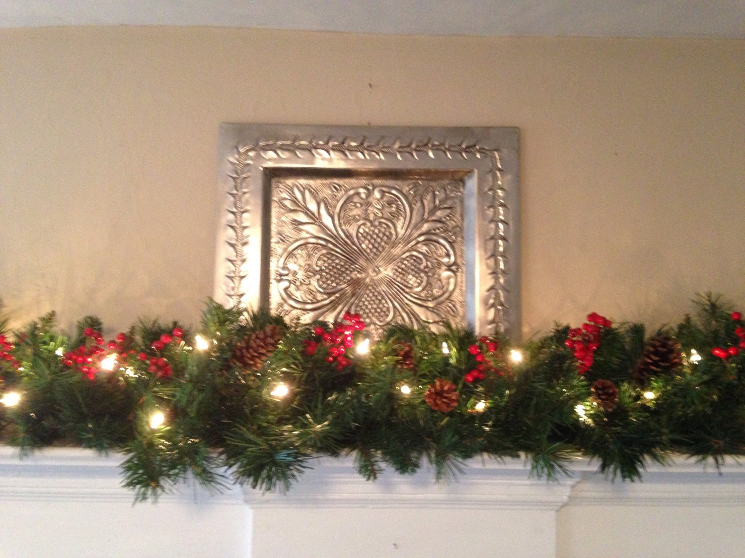 mantle garland christmas garland red berries pine cones