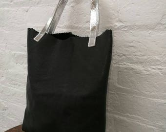 Small black and silverLeather Tote Bag