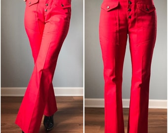 Vintage 70s High Waist Red Pants