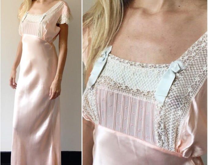 Vintage 30s Victorian Peach Silk Night Gown