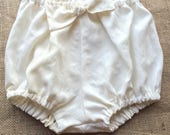 Girls Ivory Linen Bow Front Bloomers Shorties Nappy Cover Made to Order for Sizes 3months through 3T
