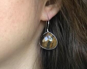 Tigers Eye Earrings- Pear Shape Dangle Earrings- Brown Golden Gemstone Earring- Unique Stone Drop Earring- Jewelry Gifts for Her