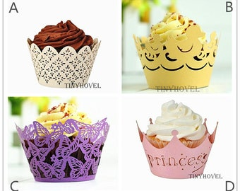 Lace cupcake liner, laser cut cupcake wrapper - Cake Deco, Party Decoration, Packaging-CC003