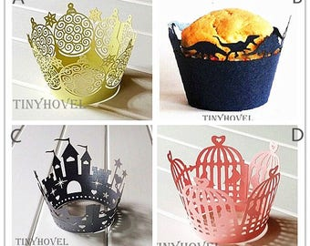 Lace cupcake liner, laser cut cupcake wrapper - Cake Deco, Party Decoration, Packaging-CC001