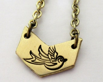 Hand stamped swallow necklace