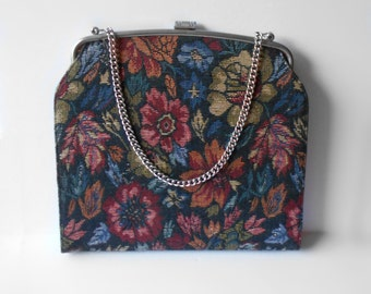 Vintage LaMarquise Tapestry Purse Handbag with Chain Strap Silver Tone