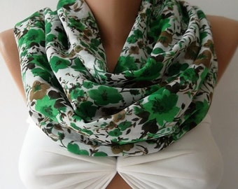 Scarf Christmas Gift Holiday Gift Scarf Green floral loop scarf infinity scarf fashion accessories holidays gift for her