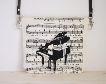 Piano bag, music crossbody bag, piano crossbody bag, music gifts, musicians bags, music purse - The Pianist