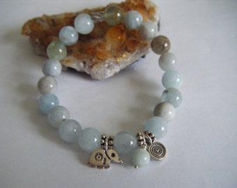 Spiritual Inspirational Healing AQUAMARINE Bracelet Elephant Wellness Oneness Gemstone Eco Beads Awareness Yoga Meditation Universe Love