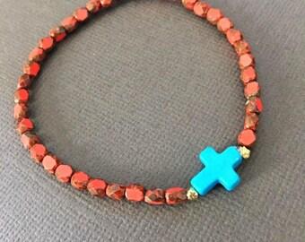 Turquoise Cross Bracelets, Christian Jewelry, turquoise beaded bracelet, Fire Polish beaded bracelet, Stretch bracelet, muse411