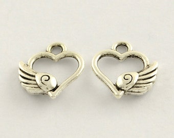 10 pieces Antique Silver Heart With Wing Charms