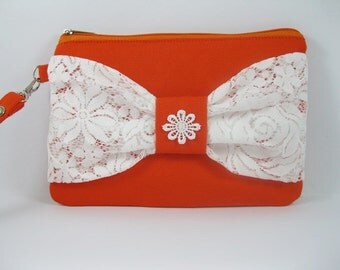 SUPER SALE - Orange with White Lace Bow Clutch - Bridal Clutches, Bridesmaid Wristlet, Wedding Gift - Made To Order