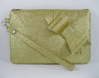 SUPER SALE - Gold Glitter Little Bow Clutch - Bridal Clutch, Bridesmaid Clutch, Wedding Clutch, Wedding GIft - Made To Order