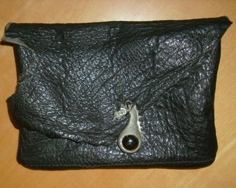 Free shipping! Black leather boho belt pouch with a dragon ornament