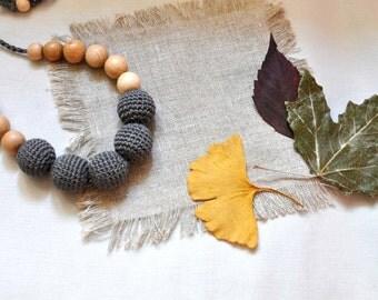 Grey Crochet Nursing Necklace-Breasfeeding Necklace-Cotton Crochet Babywearing Necklace-Teething Necklace