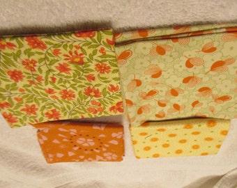 Fat Quarter Bundle with 4 FQs in orange, yellow, green florals Moda C9