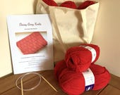 Complete knitting Kit ~Rectangles Simple Baby Blanket  ~ Knitting pattern, Yarn, Needles & Cotton Tote Bag
