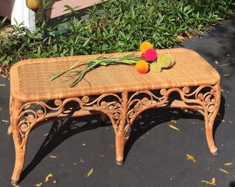 """WICKER RATTAN BENCH Peacock Design 38.5"""" x 16"""" height X 13.5"""" width, End of Bed Bench, Peacock Wicker Table at Ageless Alchemy"""