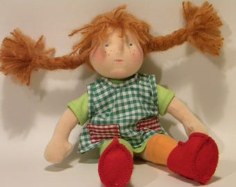 Pippi Longstocking waldorf doll 12 inch (with or without a sculpted face)