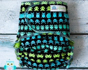 "Cozy Serged Hybrid Fitted Cloth Diaper- ""Space Invaders"" woven"