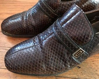 1970s Genuine Snakeskin Loafers by Nettleton Traditionals| Rare Vintage Men's Shoes Size 7.5