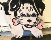 This item is temporarily on hold for Marnee.   Wooden Cutout Folk Art or Primitive Dog With a Bone - Potential Doorstop