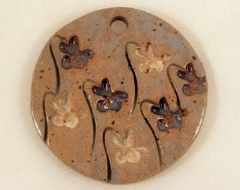 Large Glazed Pottery Pet Cremains Motif Pendant or Ornament - Custom Memorial Pet Cremation Keepsake -  IRISES