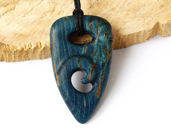 Wood koru, Wood pendant, Wood necklace, Wood jewelry, Blue pendant, Blue necklace, Koru pendant, Koru necklace, Wooden jewelry, Wooden