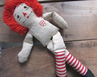 "16"" Raggedy Ann Vintage Rag Doll No Clothes Primitive Cloth Doll"