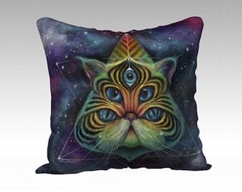 Space Cat Throw Pillow - soft throw pillow, galaxy throw pillow, cat throw pillow, phresha pillow, designer pillow, fancy throw pillow