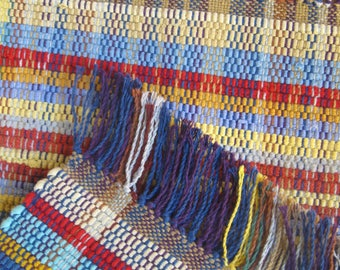 Nicaraguan Rag Rug in Soft Blues, Reds, Yellows, Green, and Cream