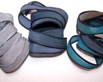 3 Pack Special Sale/Silk Ribbons/Hand Dyed/Wrist Wraps/Sassy Silks/Ready to Ship/ See Description for Details/101-0752