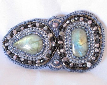 Barrette,  Two beautiful Labradorite cabochons, bead embroidered grey pearls, black crystals, blue seed beads 3 inch French barrette