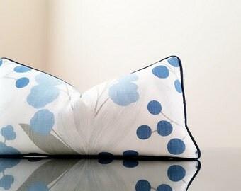 Decorative Linen Blue Kravet Capparis pillow cover FABRIC BOTH SIDES, lumbar pillow