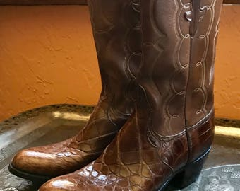 LUCCHESE CROCODILE BOOTS Vintage High End Top of the Line Brown Boots Made in San Antonio, Worn twice, Excellent Condition, Leather Upper
