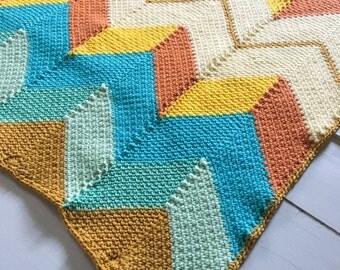 Blanket - Afghan - Baby Blanket - Lapghan - Lap Blanket - Beach Hut - Ocean - Beach - Sunset - Tegan