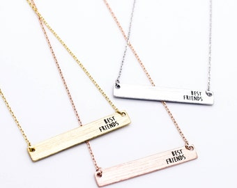 """Tiny Gold or Silver Bar """"Bestie"""" Best Friends Necklace - Dainty, Simple, Birthday Gift, Wedding Bridesmaid Gift"""